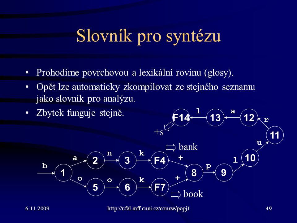 6.11.2009http://ufal.mff.cuni.cz/course/popj149 Slovník pro syntézu Prohodíme povrchovou a lexikální rovinu (glosy). Opět lze automaticky zkompilovat