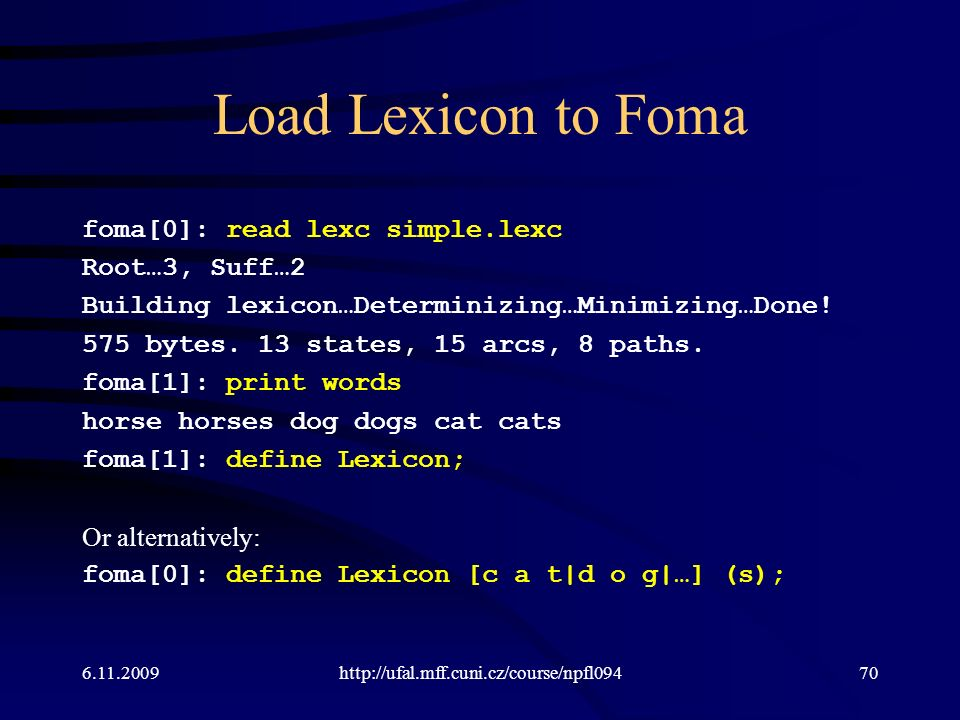 Load Lexicon to Foma foma[0]: read lexc simple.lexc Root…3, Suff…2 Building lexicon…Determinizing…Minimizing…Done.