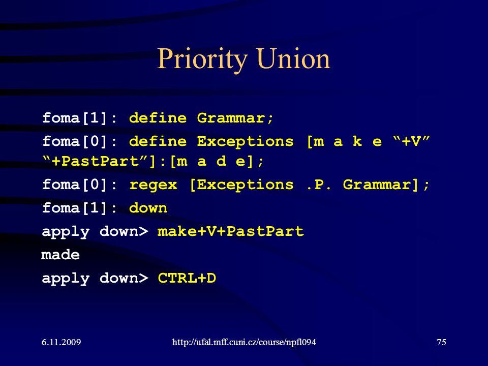 Priority Union foma[1]: define Grammar; foma[0]: define Exceptions [m a k e +V +PastPart ]:[m a d e]; foma[0]: regex [Exceptions.P.