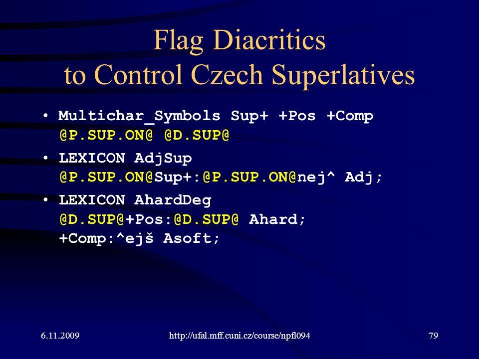 Flag Diacritics to Control Czech Superlatives Multichar_Symbols Sup+ +Pos +Comp @P.SUP.ON@ @D.SUP@ LEXICON AdjSup @P.SUP.ON@Sup+:@P.SUP.ON@nej^ Adj; L
