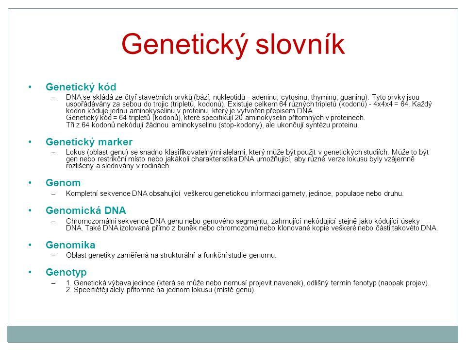 Genetický slovník Genetický kód –DNA se skládá ze čtyř stavebních prvků (bází, nukleotidů - adeninu, cytosinu, thyminu, guaninu). Tyto prvky jsou uspo