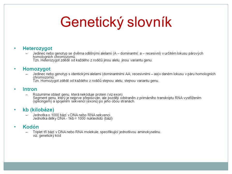 Genetický slovník Heterozygot –Jedinec nebo genotyp se dvěma odlišnými alelami (A – dominantní; a – recesivní) v určitém lokusu párových homologních c