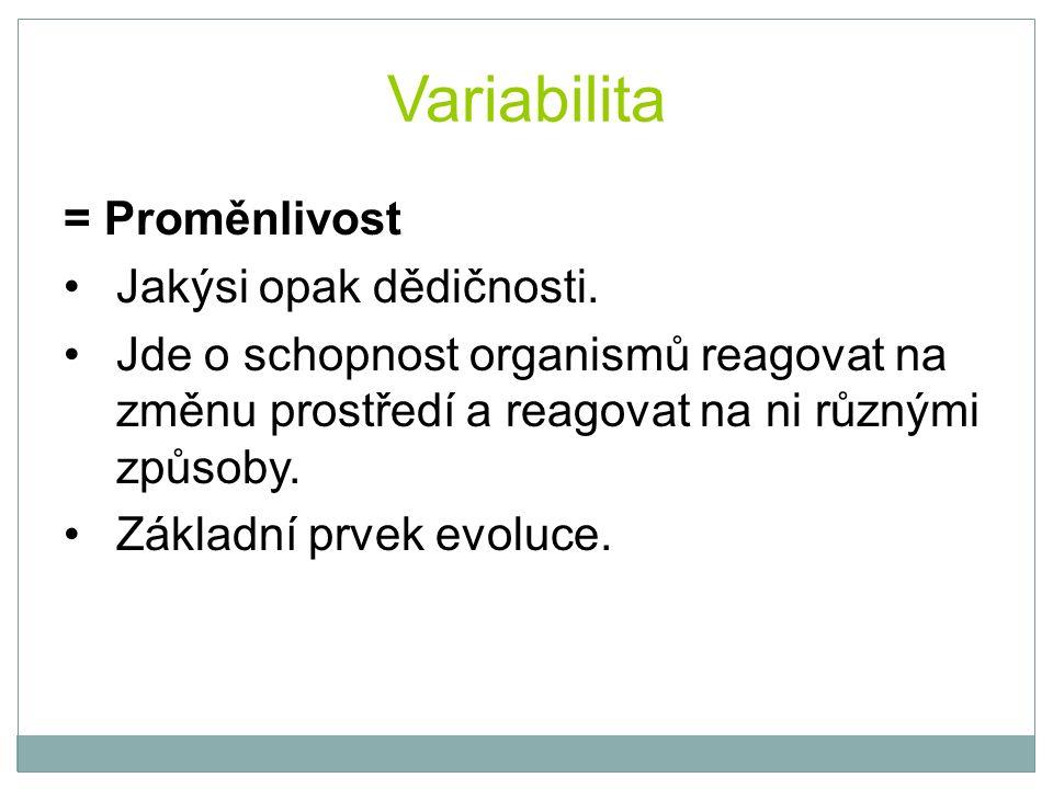 Variabilita = Proměnlivost Jakýsi opak dědičnosti. Jde o schopnost organismů reagovat na změnu prostředí a reagovat na ni různými způsoby. Základní pr