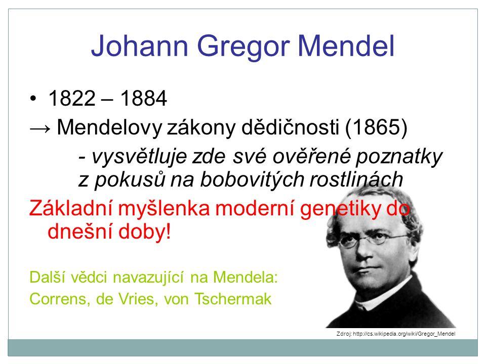 Johann Gregor Mendel 1822 – 1884 → Mendelovy zákony dědičnosti (1865) - vysvětluje zde své ověřené poznatky z pokusů na bobovitých rostlinách Základní