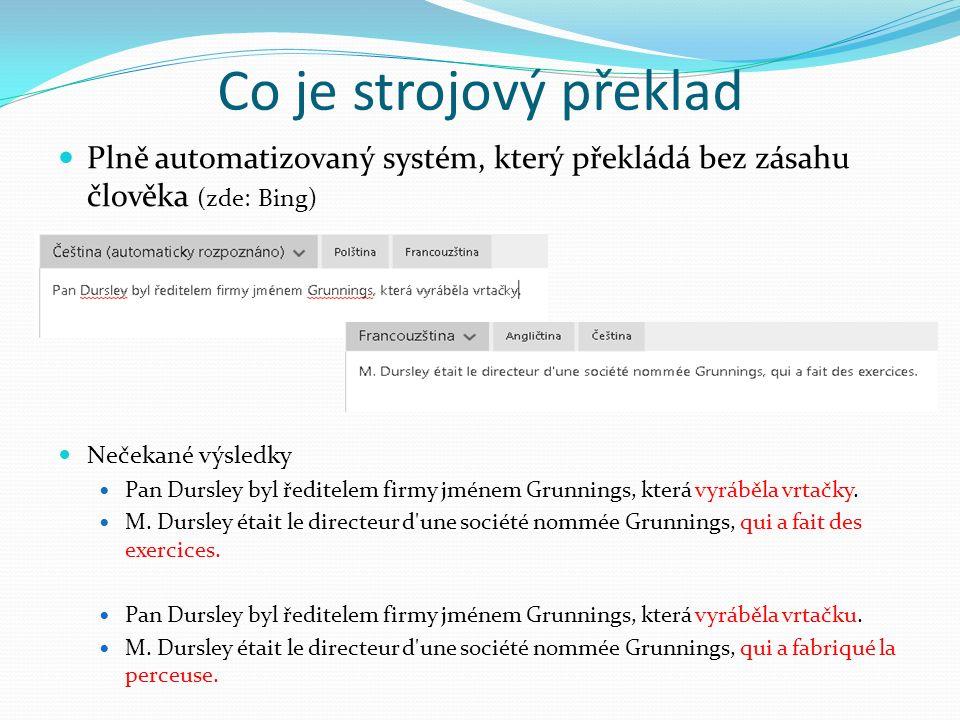 Co je strojový překlad Plně automatizovaný systém, který překládá bez zásahu člověka (zde: Bing) Nečekané výsledky Pan Dursley byl ředitelem firmy jménem Grunnings, která vyráběla vrtačky.