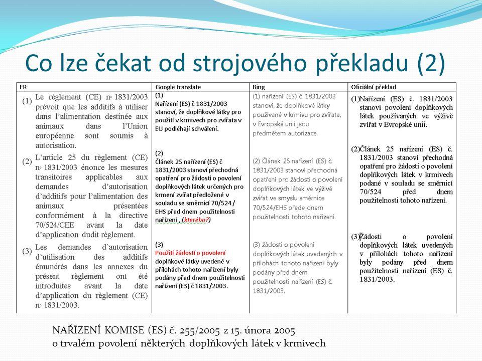 Co lze čekat od strojového překladu (2) NAŘÍZENÍ KOMISE (ES) č. 255/2005 z 15. února 2005 o trvalém povolení některých doplňkových látek v krmivech
