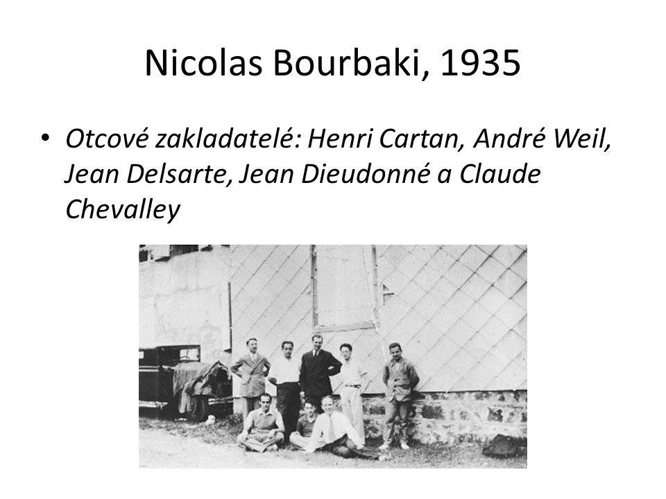 Nicolas Bourbaki, 1935 Otcové zakladatelé: Henri Cartan, André Weil, Jean Delsarte, Jean Dieudonné a Claude Chevalley