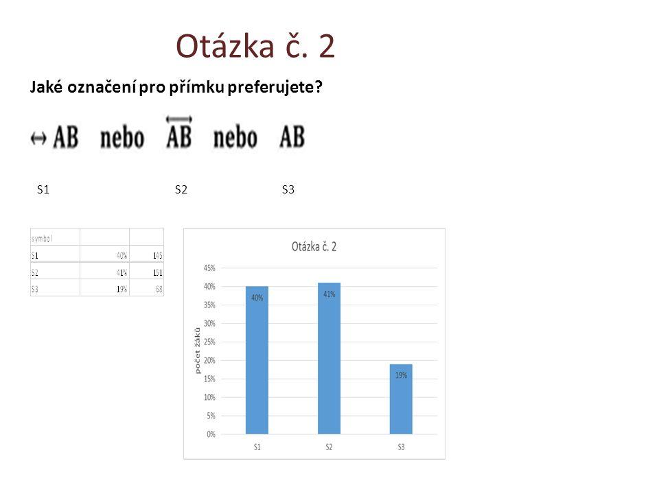 Otázka č. 2 Jaké označení pro přímku preferujete? S1 S2 S3