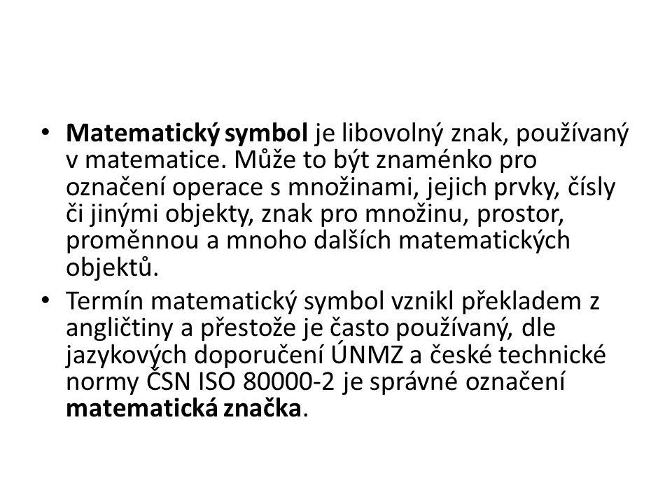 Literatura Názvy a značky školské matematiky, SPN, Praha 1988.
