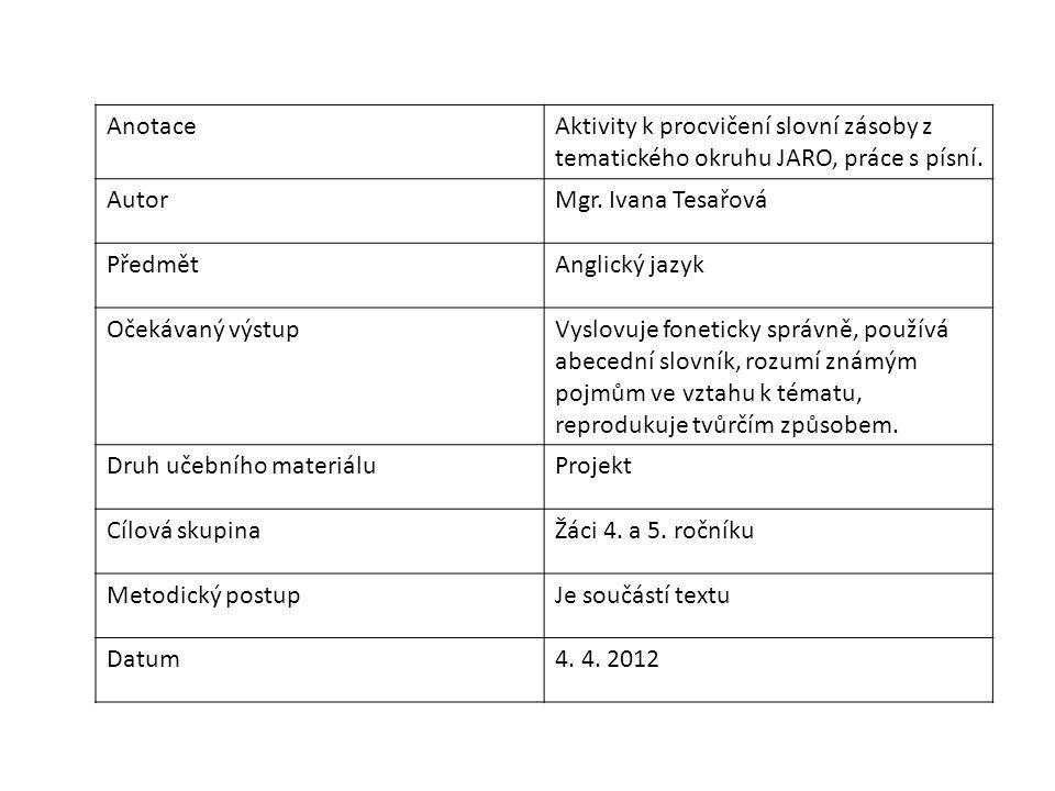 AnotaceAktivity k procvičení slovní zásoby z tematického okruhu JARO, práce s písní.
