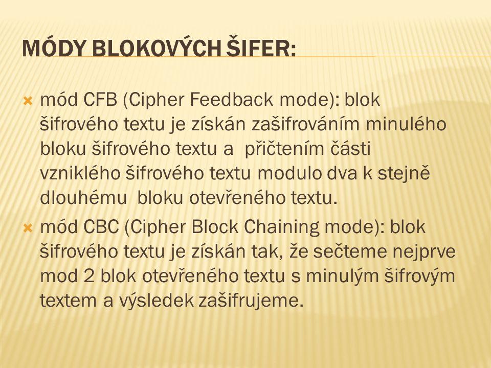 MÓDY BLOKOVÝCH ŠIFER:  mód CFB (Cipher Feedback mode): blok šifrového textu je získán zašifrováním minulého bloku šifrového textu a přičtením části vzniklého šifrového textu modulo dva k stejně dlouhému bloku otevřeného textu.