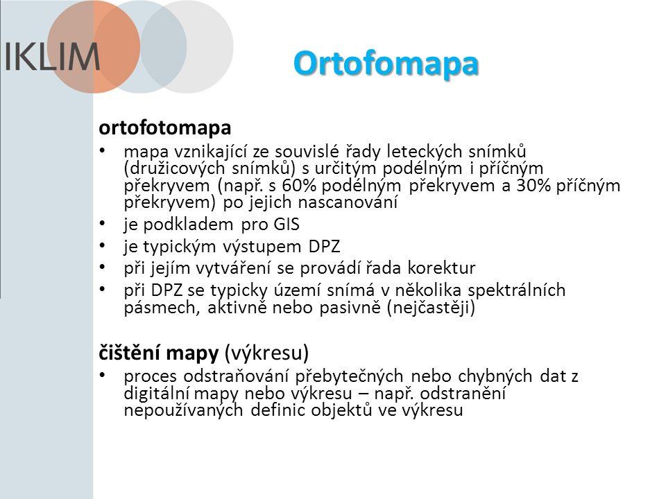 Ortofomapa ortofotomapa mapa vznikající ze souvislé řady leteckých snímků (družicových snímků) s určitým podélným i příčným překryvem (např.