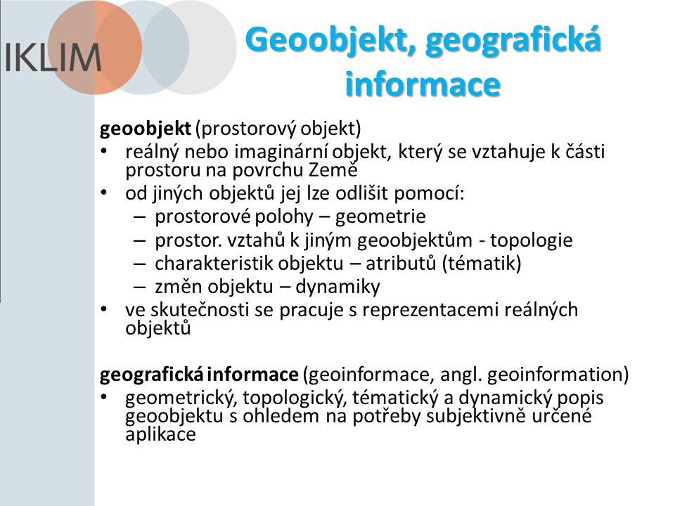 Geoobjekt, geografická informace geoobjekt (prostorový objekt) reálný nebo imaginární objekt, který se vztahuje k části prostoru na povrchu Země od jiných objektů jej lze odlišit pomocí: – prostorové polohy – geometrie – prostor.
