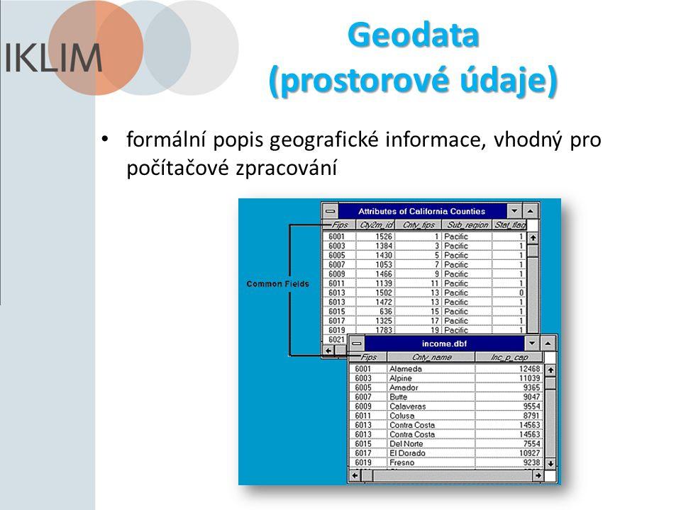 Geodata (prostorové údaje) formální popis geografické informace, vhodný pro počítačové zpracování