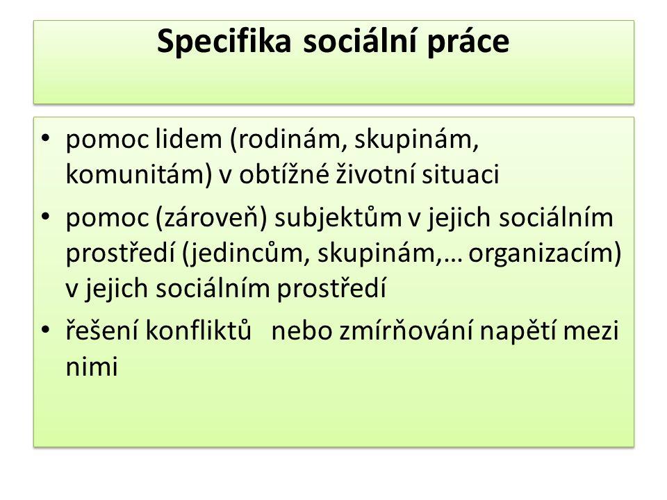 Specifika sociální práce pomoc lidem (rodinám, skupinám, komunitám) v obtížné životní situaci pomoc (zároveň) subjektům v jejich sociálním prostředí (jedincům, skupinám,… organizacím) v jejich sociálním prostředí řešení konfliktů nebo zmírňování napětí mezi nimi pomoc lidem (rodinám, skupinám, komunitám) v obtížné životní situaci pomoc (zároveň) subjektům v jejich sociálním prostředí (jedincům, skupinám,… organizacím) v jejich sociálním prostředí řešení konfliktů nebo zmírňování napětí mezi nimi