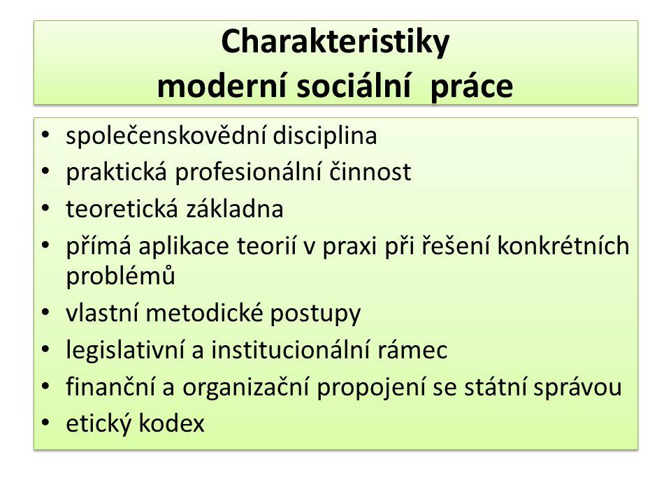 Charakteristiky moderní sociální práce společenskovědní disciplina praktická profesionální činnost teoretická základna přímá aplikace teorií v praxi při řešení konkrétních problémů vlastní metodické postupy legislativní a institucionální rámec finanční a organizační propojení se státní správou etický kodex společenskovědní disciplina praktická profesionální činnost teoretická základna přímá aplikace teorií v praxi při řešení konkrétních problémů vlastní metodické postupy legislativní a institucionální rámec finanční a organizační propojení se státní správou etický kodex