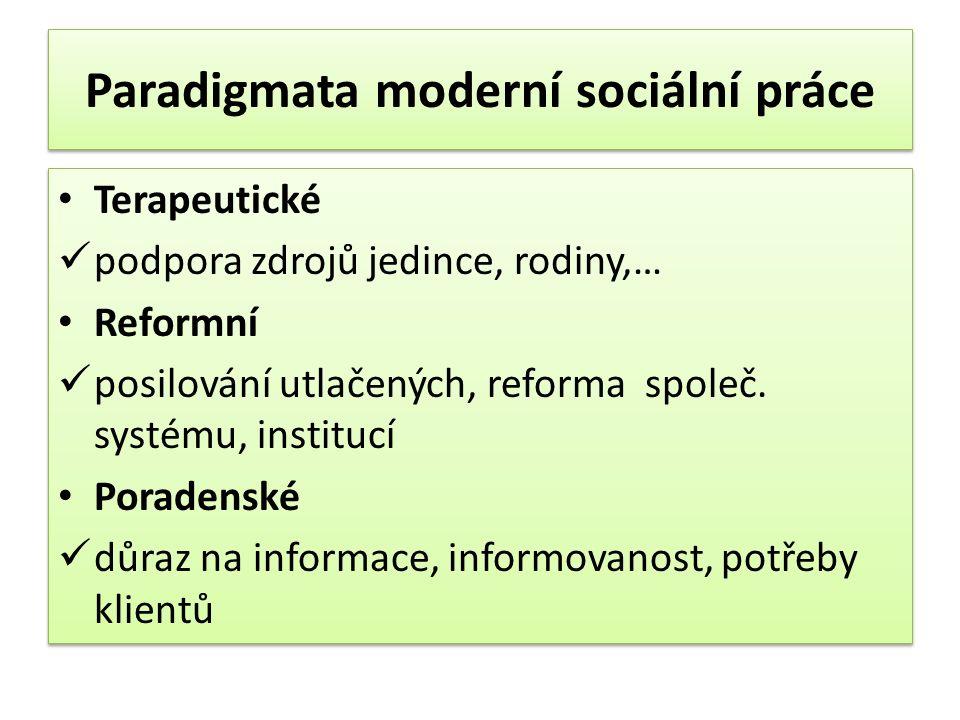 Paradigmata moderní sociální práce Terapeutické podpora zdrojů jedince, rodiny,… Reformní posilování utlačených, reforma společ.