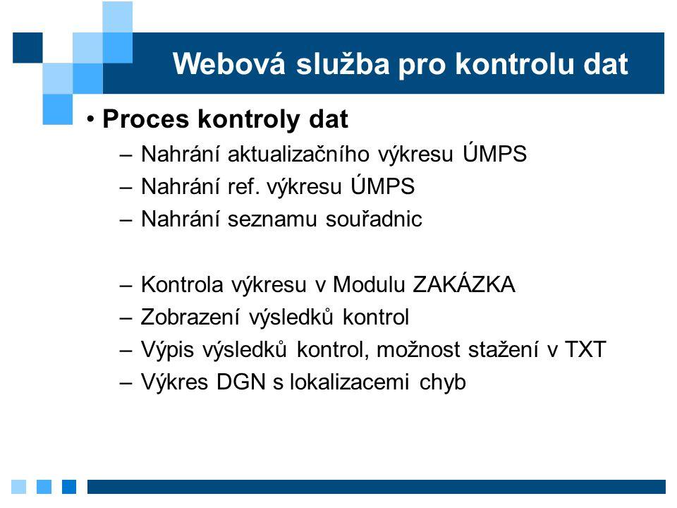 Webová služba pro kontrolu dat Proces kontroly dat –Nahrání aktualizačního výkresu ÚMPS –Nahrání ref.