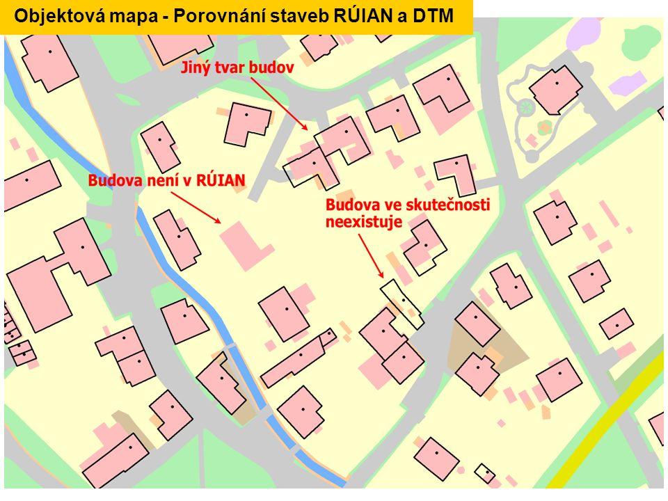 Objektová mapa - Porovnání staveb RÚIAN a DTM