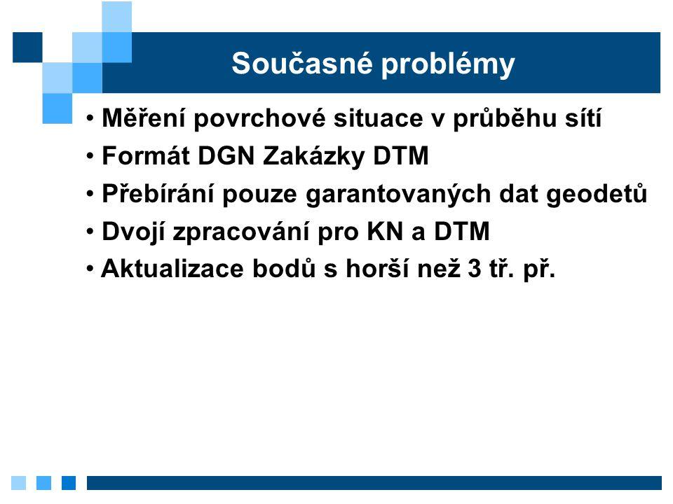 Současné problémy Měření povrchové situace v průběhu sítí Formát DGN Zakázky DTM Přebírání pouze garantovaných dat geodetů Dvojí zpracování pro KN a DTM Aktualizace bodů s horší než 3 tř.