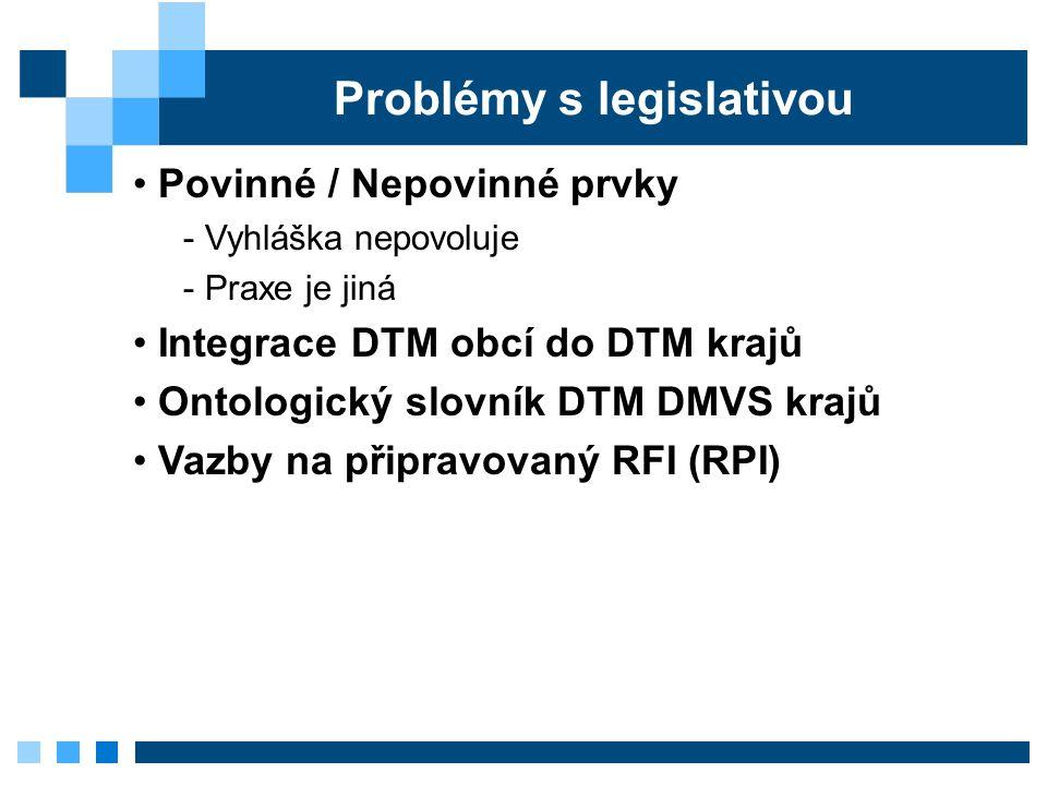 Problémy s legislativou Povinné / Nepovinné prvky - Vyhláška nepovoluje - Praxe je jiná Integrace DTM obcí do DTM krajů Ontologický slovník DTM DMVS krajů Vazby na připravovaný RFI (RPI)