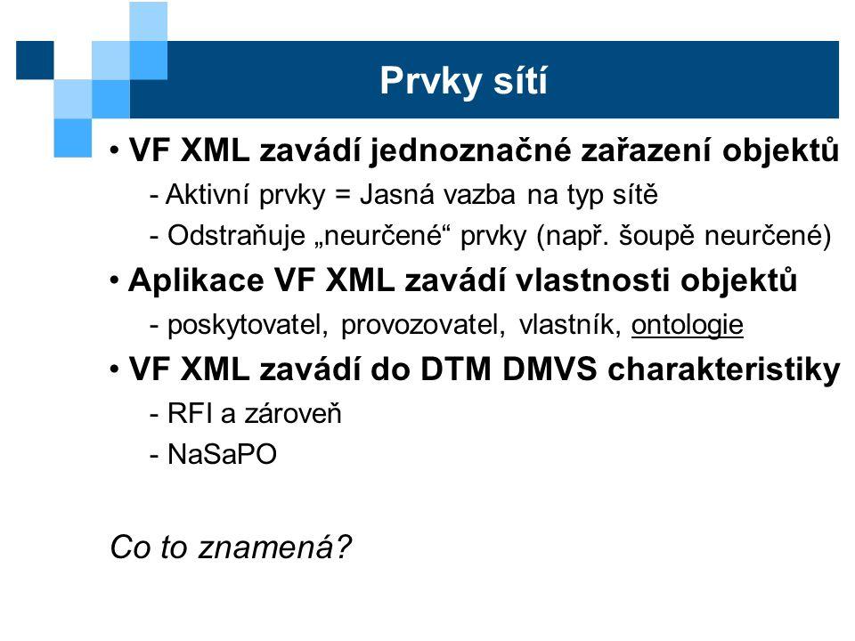 """Prvky sítí VF XML zavádí jednoznačné zařazení objektů - Aktivní prvky = Jasná vazba na typ sítě - Odstraňuje """"neurčené prvky (např."""