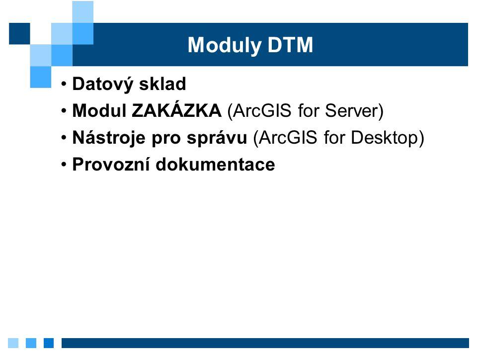 Moduly DTM Datový sklad Modul ZAKÁZKA (ArcGIS for Server) Nástroje pro správu (ArcGIS for Desktop) Provozní dokumentace