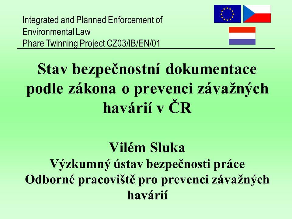 Integrated and Planned Enforcement of Environmental Law Phare Twinning Project CZ03/IB/EN/01 12 VÚBP - Odborné pracoviště pro prevenci závažných havárií (OPPZH)  Odborné pracoviště pro potřeby státní správy v oblasti dokumentace vypracované podle zákona o prevenci závažných havárií posuzování a hodnocení úplnosti a odborné správnosti bezpečnostních dokumentů (bezpečnostní program a bezpečnostní zpráva) odborná příprava pracovníků státní správy pro plnění činností vyplývajících ze zákona č.