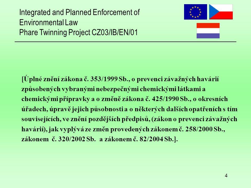 Integrated and Planned Enforcement of Environmental Law Phare Twinning Project CZ03/IB/EN/01 35 Veřejnost Vnímání (percepce) rizika Snadná manipulovatelnost médii Nezájem Nedostatek hrdosti