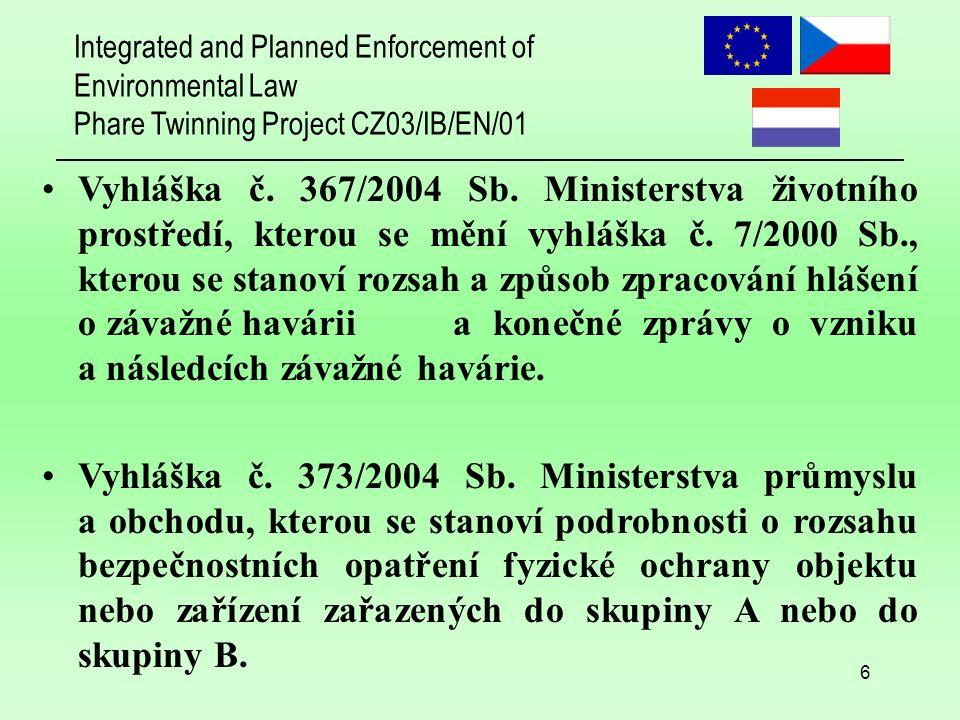 Integrated and Planned Enforcement of Environmental Law Phare Twinning Project CZ03/IB/EN/01 7 Nařízení vlády č.