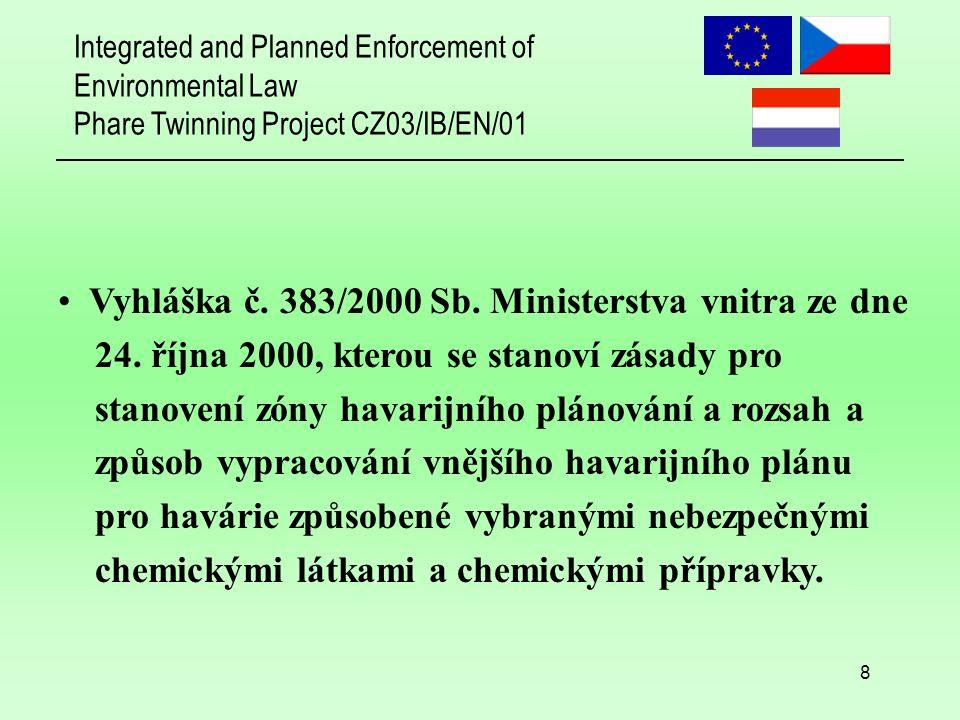 "Integrated and Planned Enforcement of Environmental Law Phare Twinning Project CZ03/IB/EN/01 9 Současnost  budoucnost: Příprava nového zákona, který zahrne požadavky ""Directive 2003/105/EC of the European Parliament and of the Council of 16 December 2003 amending Council Directive 96/82/EC on the control of major-accident hazards involving dangerous substances Platnost od 1.7.2005"