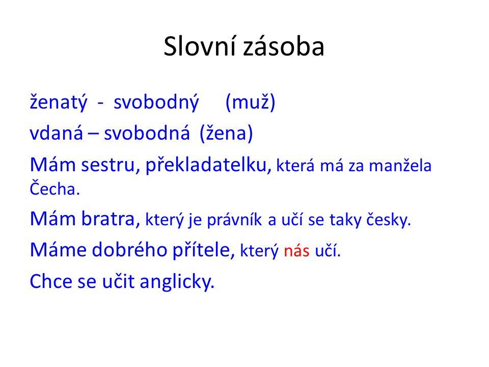 Slovní zásoba ženatý - svobodný(muž) vdaná – svobodná (žena) Mám sestru, překladatelku, která má za manžela Čecha. Mám bratra, který je právník a učí