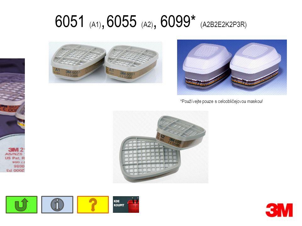 6051 (A1), 6055 (A2), 6099* (A2B2E2K2P3R) *Používejte pouze s celoobličejovou maskou!