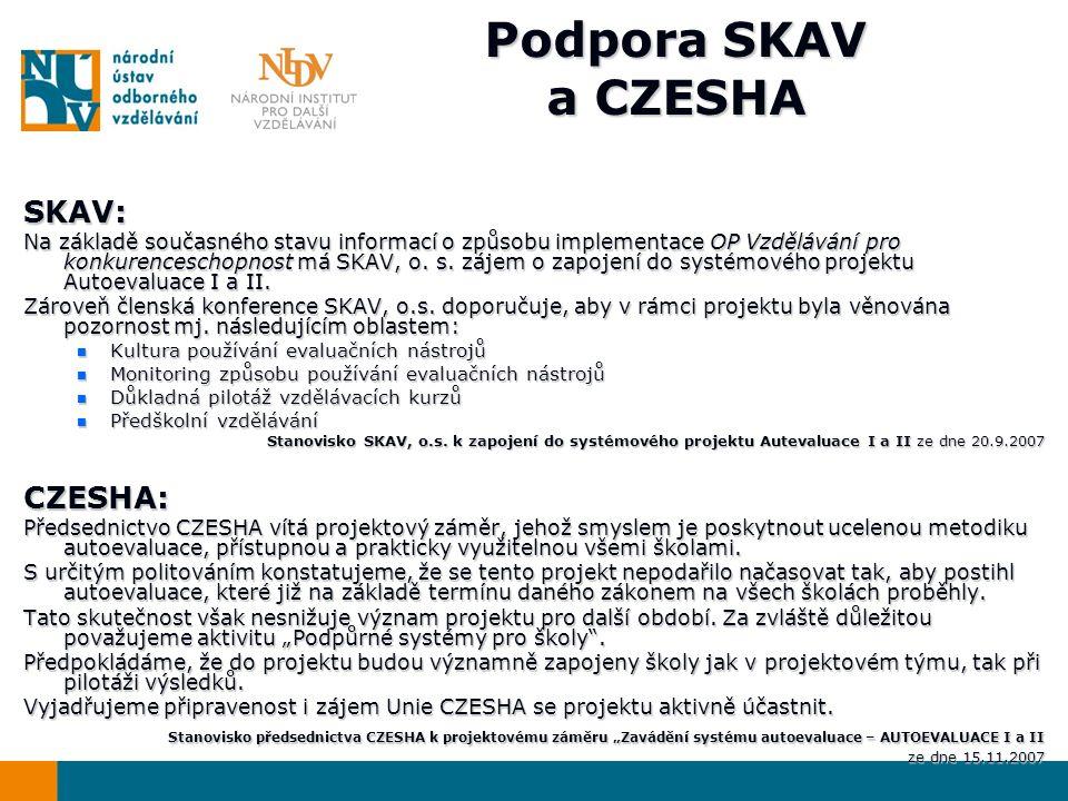Podpora SKAV a CZESHA SKAV: Na základě současného stavu informací o způsobu implementace OP Vzdělávání pro konkurenceschopnost má SKAV, o.