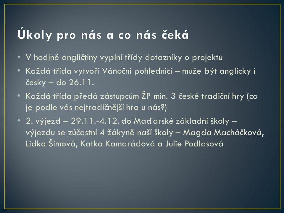 V hodině angličtiny vyplní třídy dotazníky o projektu Každá třída vytvoří Vánoční pohlednici – může být anglicky i česky – do 26.11. Každá třída předá