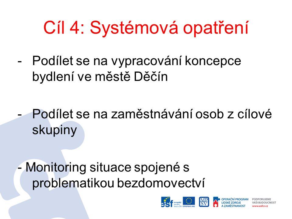 Cíl 4: Systémová opatření -Podílet se na vypracování koncepce bydlení ve městě Děčín -Podílet se na zaměstnávání osob z cílové skupiny - Monitoring situace spojené s problematikou bezdomovectví