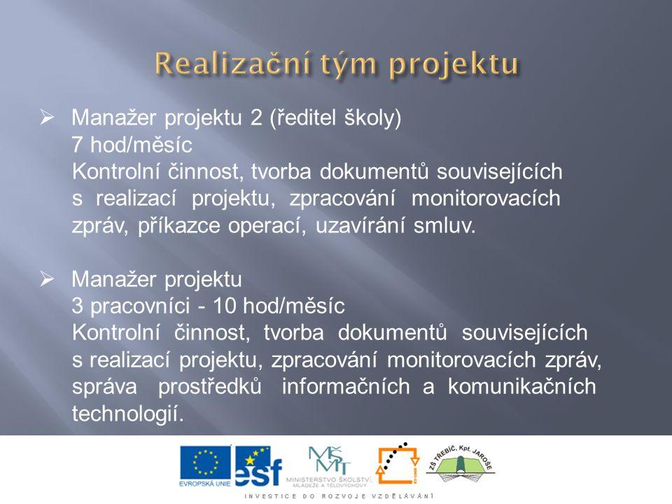  Manažer projektu 2 (ředitel školy) 7 hod/měsíc Kontrolní činnost, tvorba dokumentů souvisejících s realizací projektu, zpracování monitorovacích zpráv, příkazce operací, uzavírání smluv.