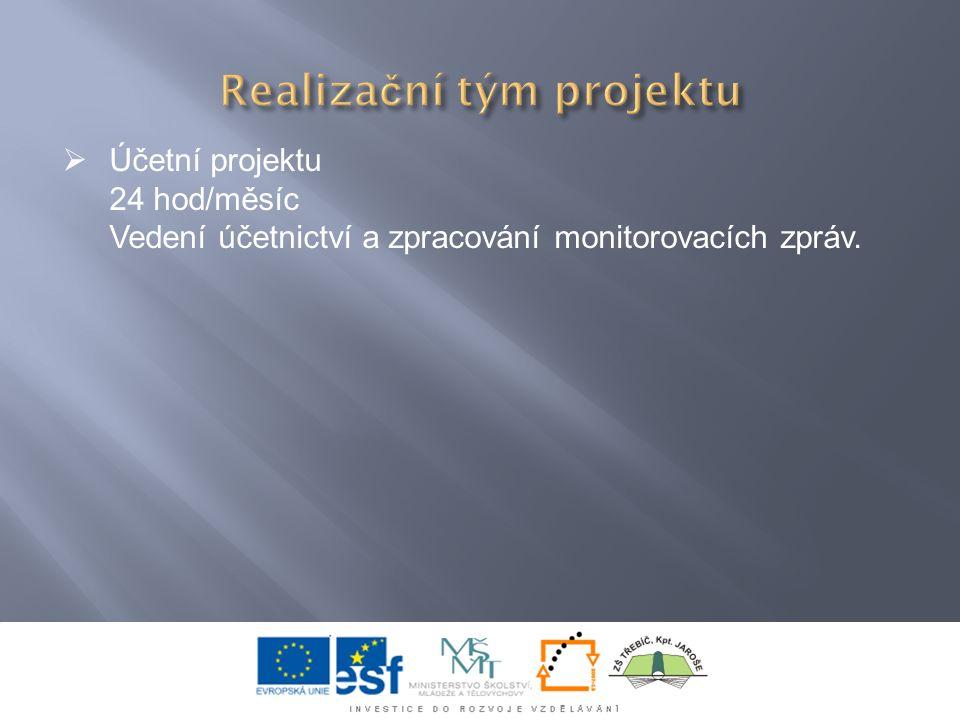  Účetní projektu 24 hod/měsíc Vedení účetnictví a zpracování monitorovacích zpráv.