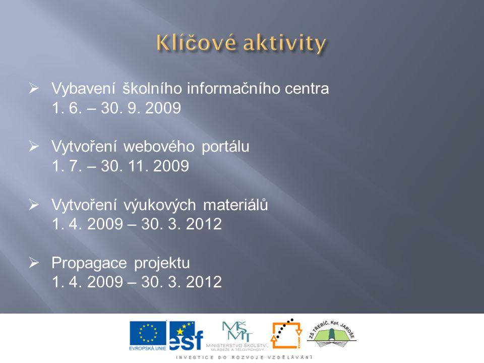  Vybavení školního informačního centra 1. 6. – 30. 9. 2009  Vytvoření webového portálu 1. 7. – 30. 11. 2009  Vytvoření výukových materiálů 1. 4. 20