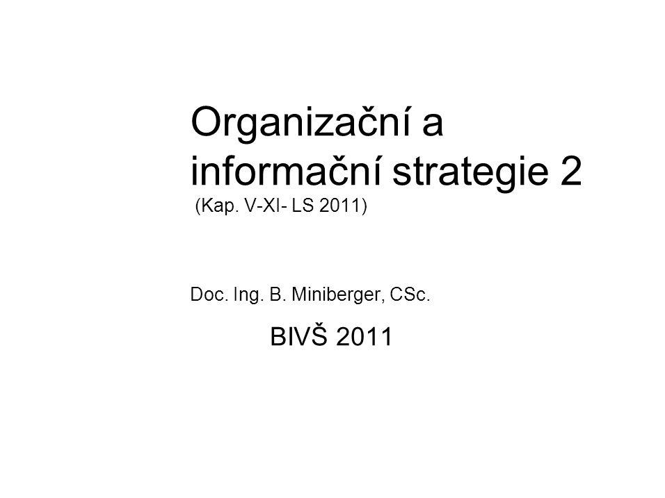 Organizační a informační strategie 2 (Kap. V-XI- LS 2011) Doc. Ing. B. Miniberger, CSc. BIVŠ 2011