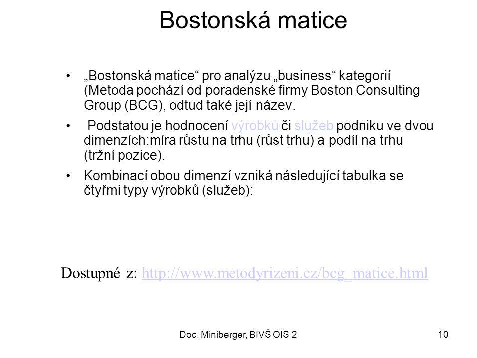"""10 Bostonská matice """"Bostonská matice pro analýzu """"business kategorií (Metoda pochází od poradenské firmy Boston Consulting Group (BCG), odtud také její název."""
