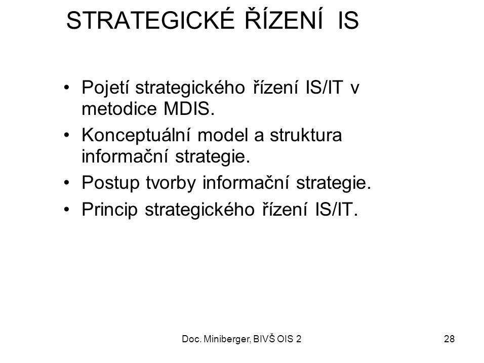 28 STRATEGICKÉ ŘÍZENÍ IS Pojetí strategického řízení IS/IT v metodice MDIS.