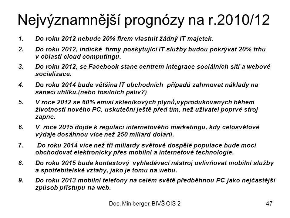 Nejvýznamnější prognózy na r.2010/12 1.Do roku 2012 nebude 20% firem vlastnit žádný IT majetek.
