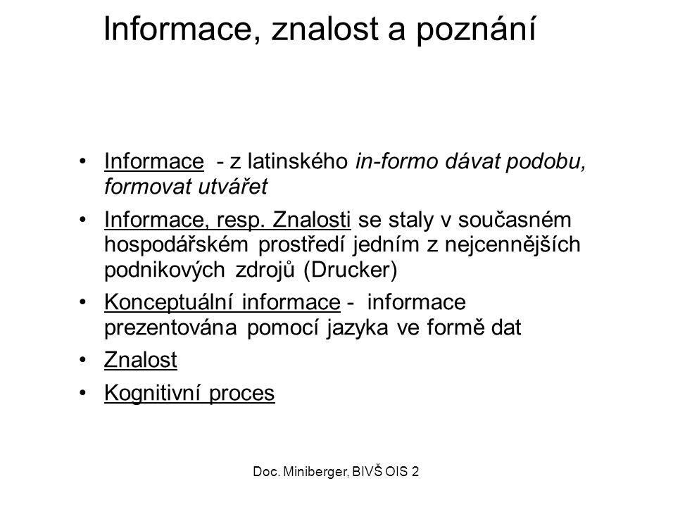 49 Informace, znalost a poznání Informace - z latinského in-formo dávat podobu, formovat utvářet Informace, resp.
