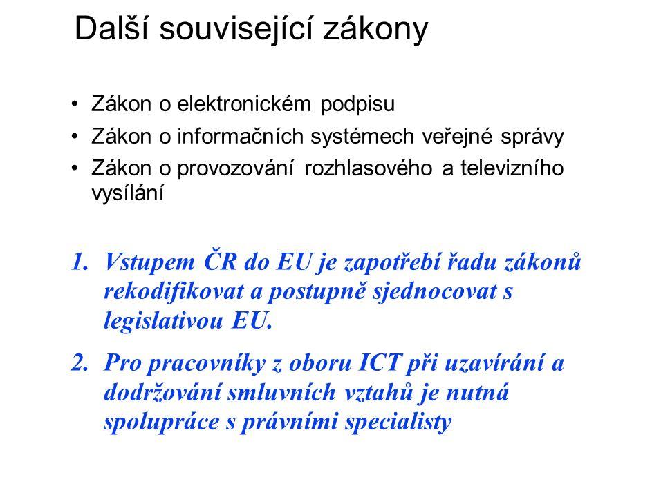 Další související zákony Zákon o elektronickém podpisu Zákon o informačních systémech veřejné správy Zákon o provozování rozhlasového a televizního vysílání 1.Vstupem ČR do EU je zapotřebí řadu zákonů rekodifikovat a postupně sjednocovat s legislativou EU.