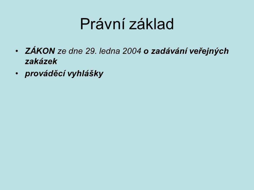 Právní základ ZÁKON ze dne 29. ledna 2004 o zadávání veřejných zakázek prováděcí vyhlášky