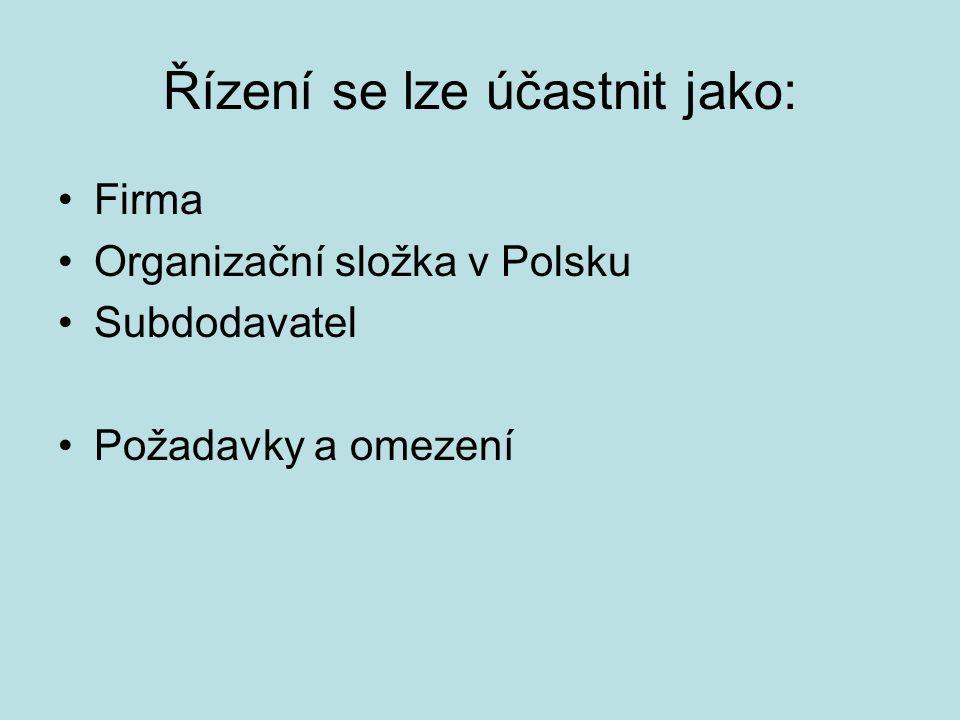 Řízení se lze účastnit jako: Firma Organizační složka v Polsku Subdodavatel Požadavky a omezení