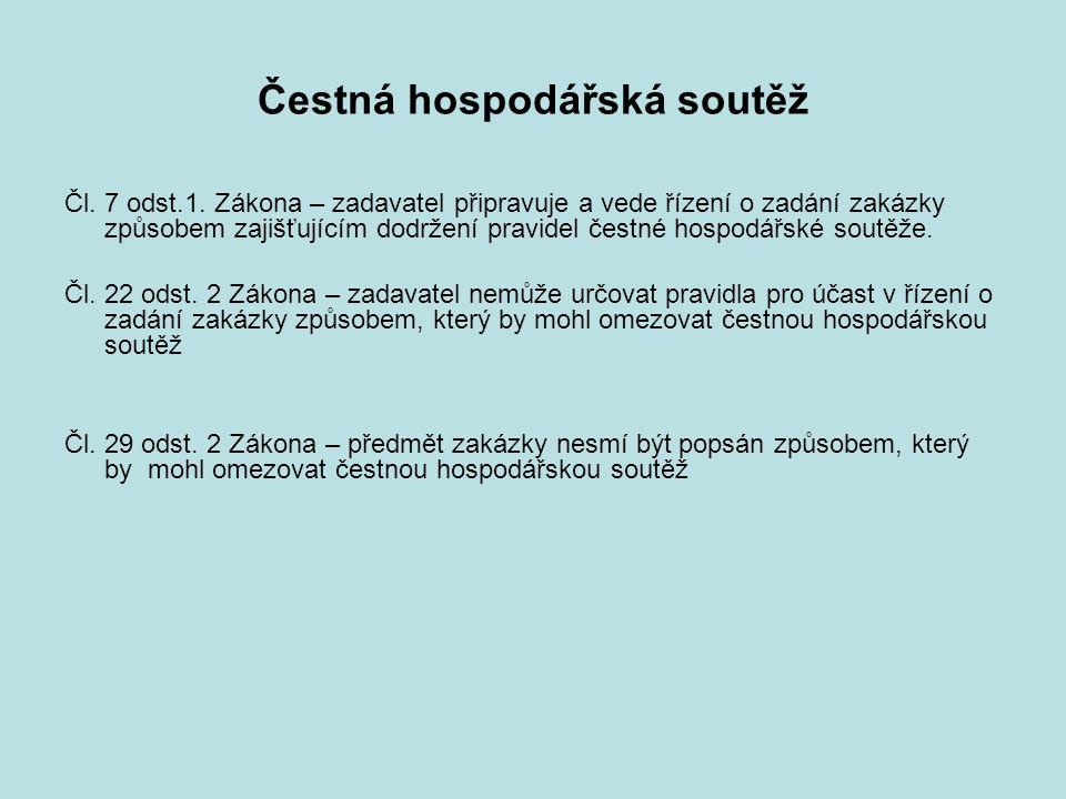 Čestná hospodářská soutěž Čl. 7 odst.1.