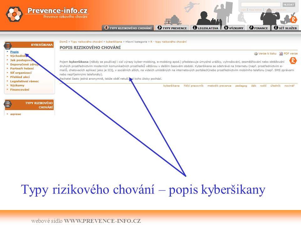 webové sídlo WWW.PREVENCE-INFO.CZ Typy rizikového chování – popis kyberšikany