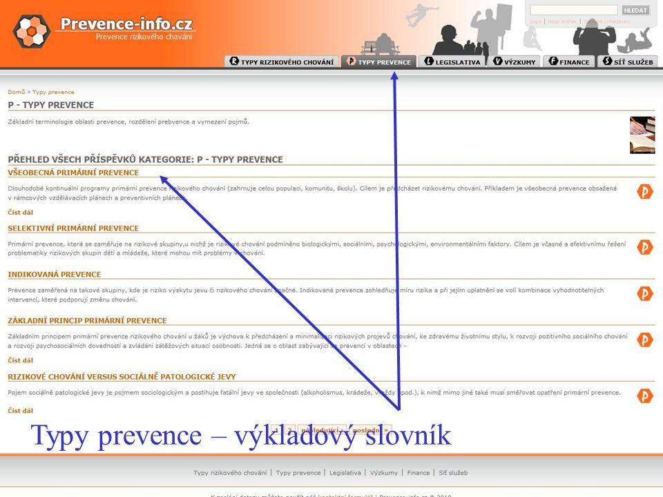 webové sídlo WWW.PREVENCE-INFO.CZ Typy prevence Typy prevence – výkladový slovník